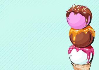 Ice cream scoops cartoon background. Vector illustration