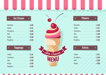 Ice cream menu poster. Vector illustration