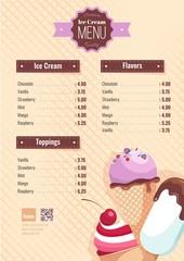 Ice cream menu poster. Vector illustration
