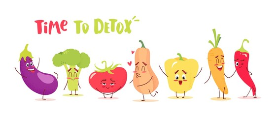 Cute cartoon vegetables with happy emotions. Time to detox concept. Vector illustration