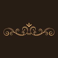 Calligraphic decorative element. Page filigree divider, ornamental flourish border. Swirls, scroll elements. Greeting card, Wedding invitation design. Vector.