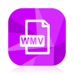 Wmv file violet square vector web icon. Internet design and webdesign button in eps 10. Mobile application sign on white background.