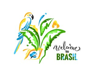 Welcome to Brazil colorful banner with parrot and palm leaves. Bright brazilian national colors. Travel concept. Vector illustration