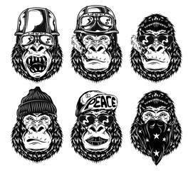 Set of isolated black and white gorilla faces