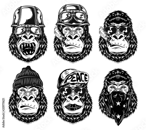 df58a4465 Set of isolated black and white gorilla faces