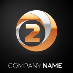 Number Two logo symbol in the golden-silver colorful circle on black background. Vector template for your design
