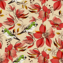 Fototapete - Red flowers seamless pattern and cute birds print