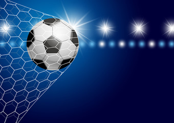 Soccer ball in goal with spotlight vector illustration