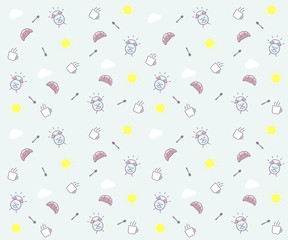 Cute morning seamless pattern background. Vector wallpaper illustration with clouds, the sun, breakfast elements like mug and croissant, spoon, alarm clock happy character smiling.