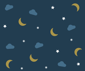 Night pattern with clouds, moons and stars. Vector background wallpaper with bedtime elements