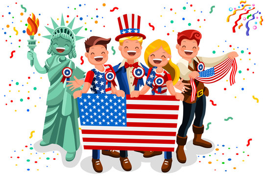 4th of July, Independence day, type design. USA patriotic flags garlands. Statue of liberty with american people characters. Vector illustration.