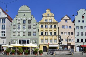 Häuser und Merkurbrunnen am Moritzplatz, Augsburg