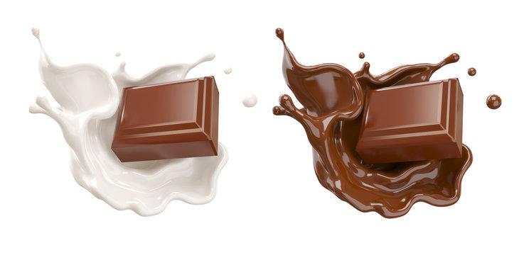 chocolate pieces falling on chocolate sauce and Milk cream splash 3d illustration.