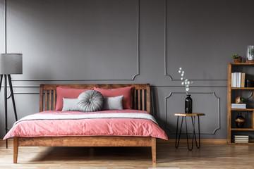Grey and pink feminine bedroom