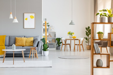 Real photo of an open space interior with yellow cushions and blanket on gray sofa in the living area and wooden table and chairs in the dining area