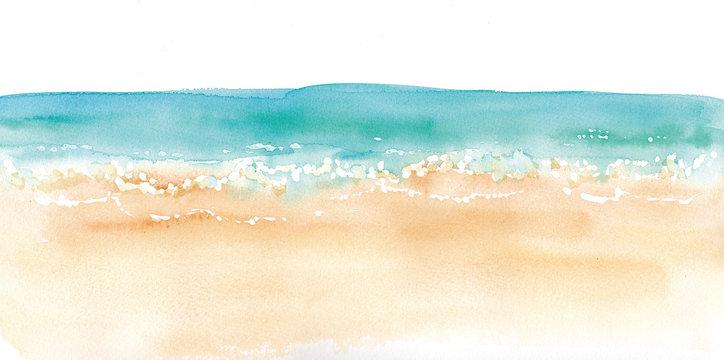砂浜と水平線の水彩イラスト beach and horizontal line