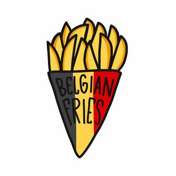 Belgian fries cartoon vector illustration