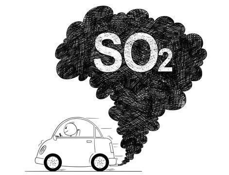 Vector artistic pen and ink drawing illustration of smoke coming from car exhaust into air. Environmental concept of SO2 or sulfur dioxide pollution.