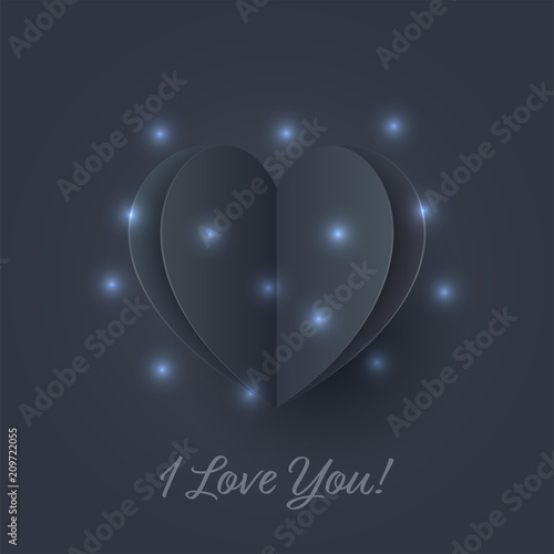 Black Hearts With Blue Lighting Paper Flying Elements On