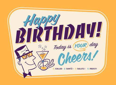 Vintage Style Happy Birthday Card - Cheers!