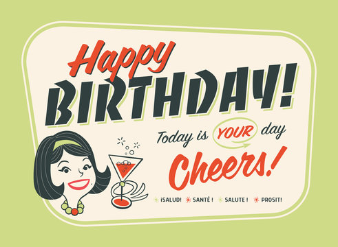 Vintage Style Happy Birthday Card - Cheers!