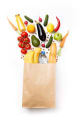 Picture of paper bag with vegetables and fruits