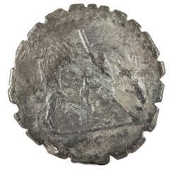 Roman Republic Coin. Ancient Roman silver denarius of the family Hosidia. Reverse.