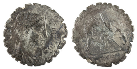 Roman Republic Coin. Ancient Roman silver denarius of the family Hosidia.