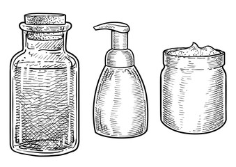 Cosmetics glass, can illustration, drawing, engraving, ink, line art, vector
