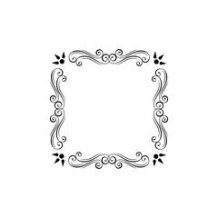 Floral decorative frame. Ornamental floral swirls, scroll elements. Filigree page decorations. Menu design, Wedding invitation, Greeting card design. Vector.