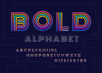 Stylized striped bold abstract retro alphabet and font of 80s, 90s with colorful stripes.