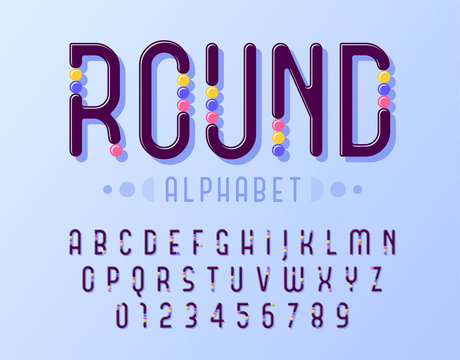 Rounded of stylized abstract alphabet and font with colorful round inserts similar to sweets.