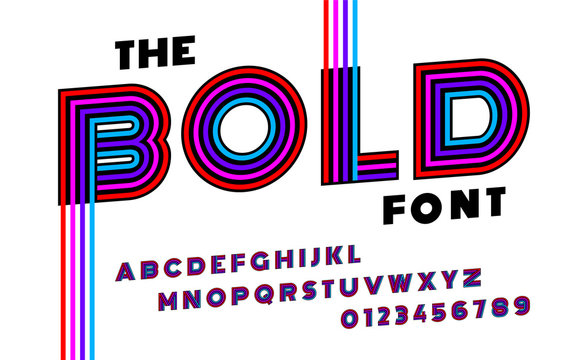 Stylized striped bold italic abstract retro alphabet and font of 80s, 90s with colorful stripes.