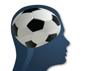foot - football - concept - cerveau - supporter - ballon - intelligence - réflexion, symbole