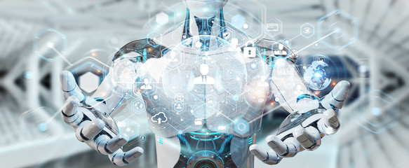 White male robot using digital screen interface 3D rendering