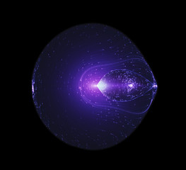 Light Beams Flowing Around The Edge Of A Circulal Shaped Futuristic Spaceship. Quantum Mechanics, Antimatter, Magnetic Field, Singularity, Gravitational Waves And Spacetime Concept