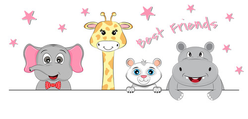Elephant, giraffe, lion and hippo best friends.