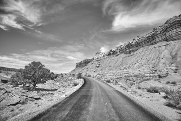 Black and white picture of a picturesque road, Capitol Reef National Park, Utah, USA.