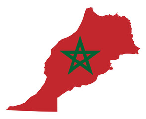 National flag of Morocco in the country silhouette. Moroccan state ensign. Red field and green pentagram. Sovereign state in Maghreb region of North Africa. Isolated illustration over white. Vector.