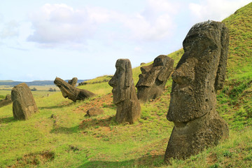 Many of Moai statues scattered on the slope of Rano Raraku volcano, Easter Island, Chile, South America