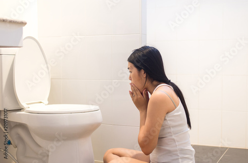 Enjoyable Pregnant Female Nausea In Toilet Asian Woman With Morning Pabps2019 Chair Design Images Pabps2019Com