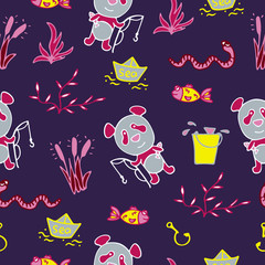 Saturated seamless pattern with the panda, fishes, and fishing.