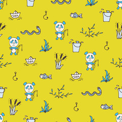 Yellow seamless pattern with the panda, fishes, and fishing.