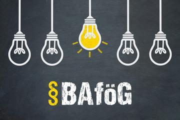 BAföG / Tafel mit Glühbirnen