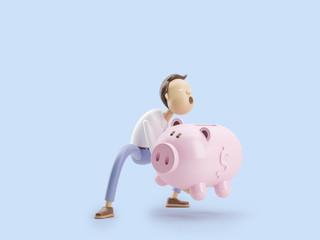 3d illustration. Businessman Jimmy  puts money in a piggy bank.