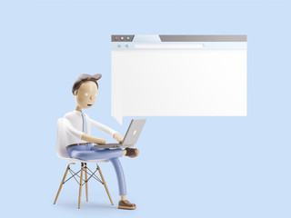 3d illustration. Businessman is sitting in the Internet browser