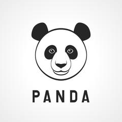 Panda bear face on the white background. Vector illustration