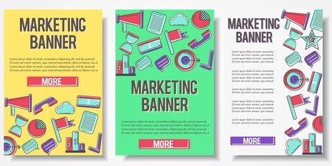 Set of 3 vertical brochures about marketing, SEO, development and advertisement, research. Promotional material. Template for flyer, magazine, poster,cover, banner,greeting card,invitation. Vector