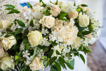 White roses wedding floral composition closeup. Wedding decorations