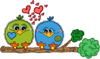 Cute love bird couple sitting on tree branch